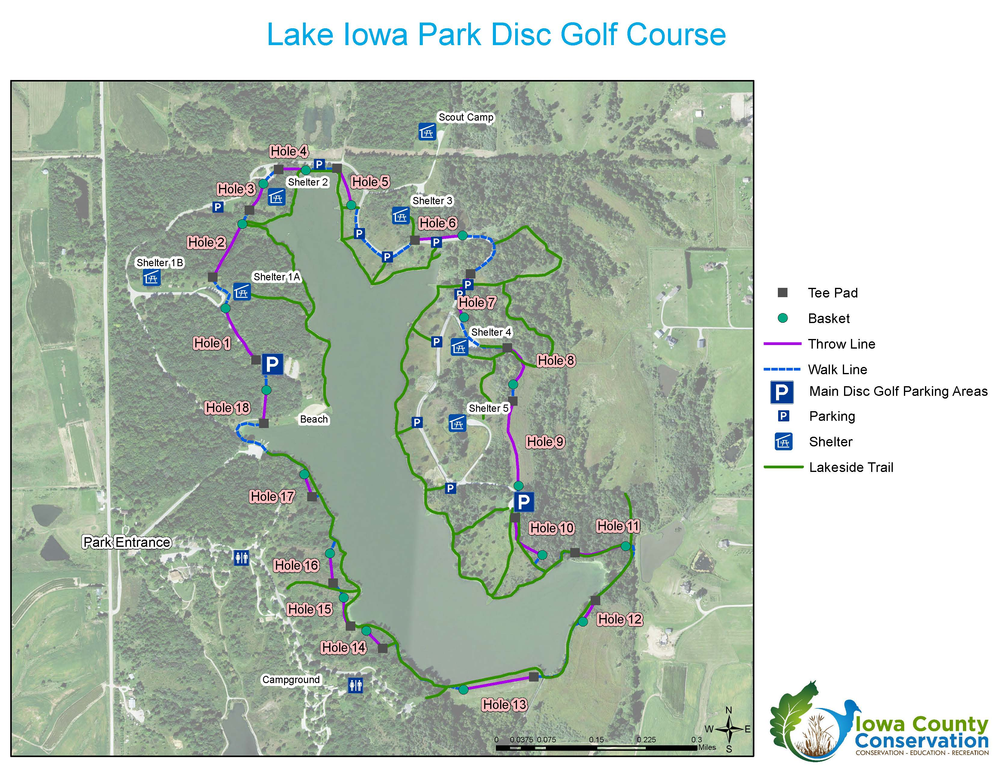 Disc Golf Course at Lake Iowa Park Iowa County Conservation