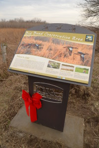 The new wetland sign at Big Bend Conservation Area